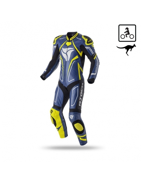 R-Tech Rising Star Motorcycle Leather Racing Suit Blue/Yellow