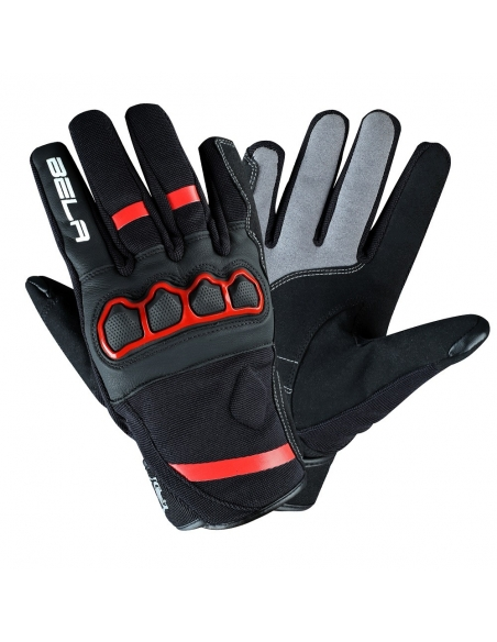 Bela Tracker Men Motorbike Gloves - Black/Red Fluor