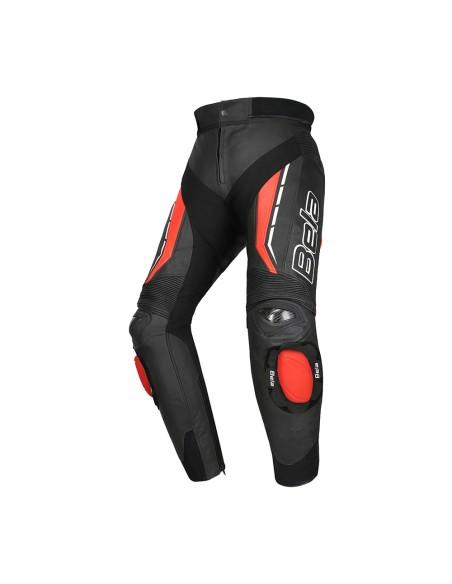 Bela Rocket Man Calças de couro de motocicleta para homens Preto/Vermelho